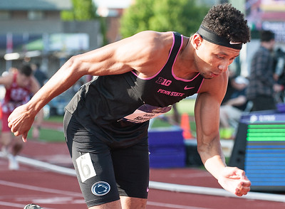 Penn State Junior and former Lewiston High School standout Isaiah Harris explodes out of the start of the third mens 800 meter semifinal heat at Hayward Field in Eugene, Oregon Wednesday night.  He won his heat with a time of 146.99 to advance to Friday night's finals in the NCAA Division 1 Track and Field Championships.  (Russ Dillingham/Sun Journal)
