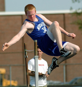 5/15/07 Norwood- Norwood's Jon Finnell competes in the boys high jump during Tuesday afternoon's track meet versus Dedham. Photo by Sean Browne, Daily News Transcript