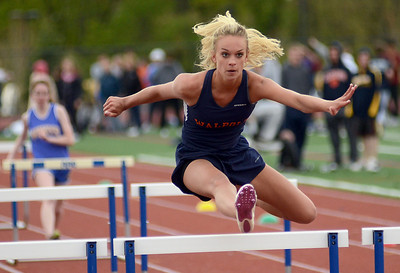 5/8/12 Norwood- Walpole's Nicole Browne competes in the girls 100 m hurdles during Tuesday afternoon's track meet versus Norwood. Photo by Sean Browne, Walpole Times
