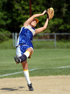 5/22/07 Norwood- Norwood third baseman, Natalie Dolan, is unable to hold onto this snow cone catch but teamate (short stop) was able to throw out Walpole's Jen Lamperti attempting to advance on the bobble during Tuesday afternoon's game. Photo by Sean Browne, Daily News Transcript