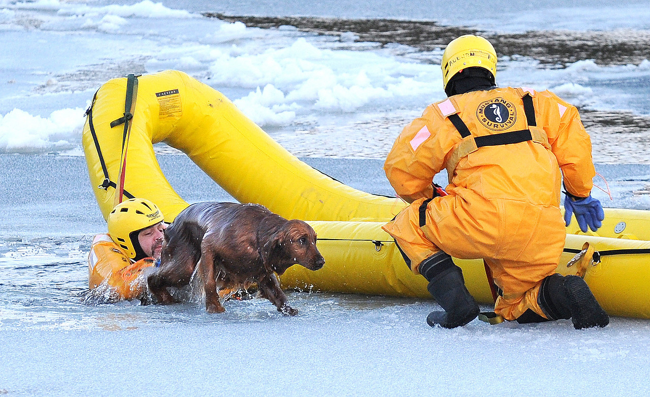 Auburn firefighter Dave O'Connell gives a push out of the water to Ginger, a two year old golden retreiver who fell through the ice on the Androscoggin River in Auburn.  She wondered out onto the ice across from her home on North River Road and fell through the ice.