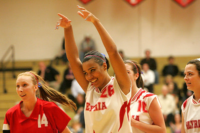 6OCT09  THe Elyria girls celebrate a win in the second game; leading the celebrations is #26 Bridgette Jones.  photo by Chuck Humel