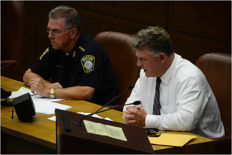 Giving testimony on plans to make use of the MBTA safe: Superintendent Bernard O'Rourke, Assistant Chief to Boston Police Commissioner William Evans, and Lieutenant Detective Mark Gillespie of the Transit Police.