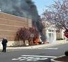 Fire burns the facade of the Kohl's Department Store in Limerick, Pa., on Friday, April 25, 2014. (Photo by Lisa Nesspor Fitzmier)