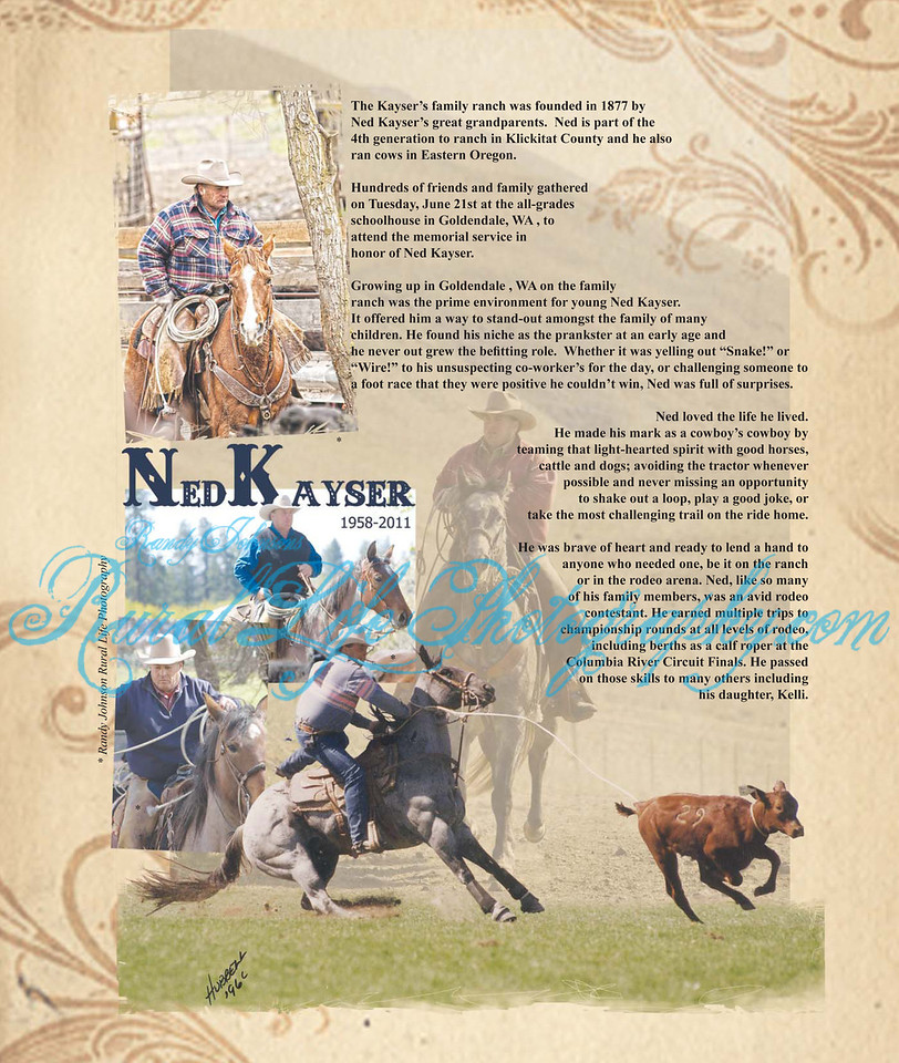 """Page 1 <br /> The first time my photos were used in a publication. In The outstanding Tribute by The Competitor News ,along with Dave Davenport sharing his words about his friend Ned.""""The Cows are out in Heaven"""""""