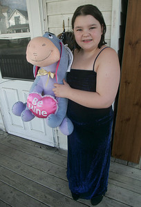 15MAR12  Thirteen year old and 7th grader Taylor Slanczka of Elyria will attend A Prom to Remember later this month.  She poses with Eyore, but real-life Colin will be her first date.  for Lisa Roberson Story/ photo by Chuck Humel