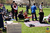 A group gathers around cups of tea for a lively, but civil, discourse and picnic on the east side of the Boston Common. Afterall, isn't there a tea party going on?