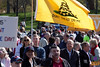 "A man carries a large ""Don't Tread on Me"" flag at the Tea Party rally on the Boston Common."