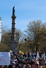 A view of the Sailors and Soldiers Monument in the Boston Common with a crowd of people during the Tea Party Express III visit.