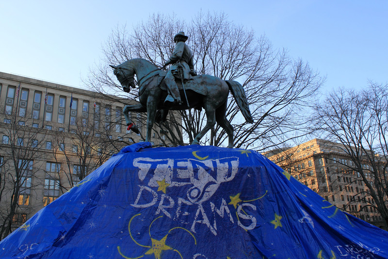 Tent of Dreams over the statue of General McPherson the night before the US Park Police ordered the removal of the tent.