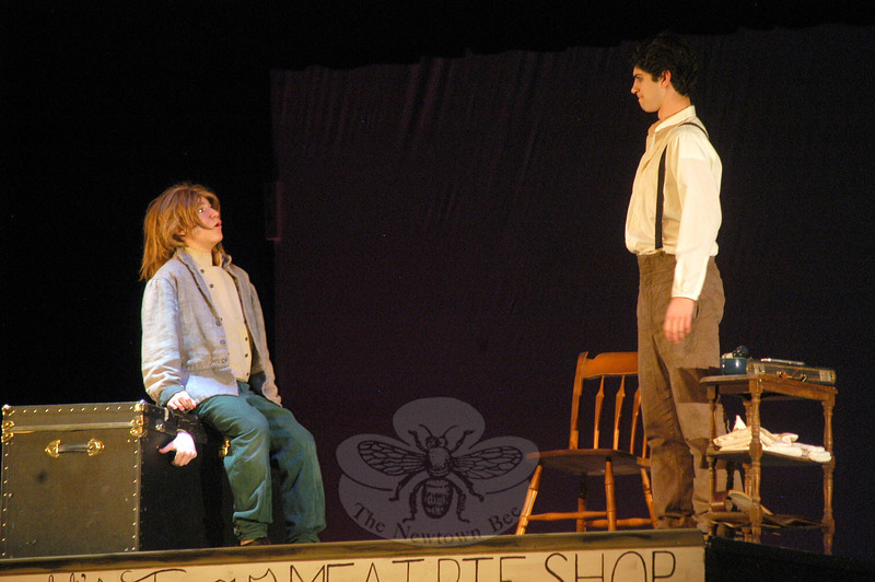 Taylor Varga, left, will play Tobias Ragg and Ben Stoller will play the role of Sweeney Todd in the Newtown High School's Drama Club production the school version of Stephen Sond-heim's Sweeney Todd set for showings this weekend, Thursday through Sunday, March 15-18. —Bee Photo, Hallabeck