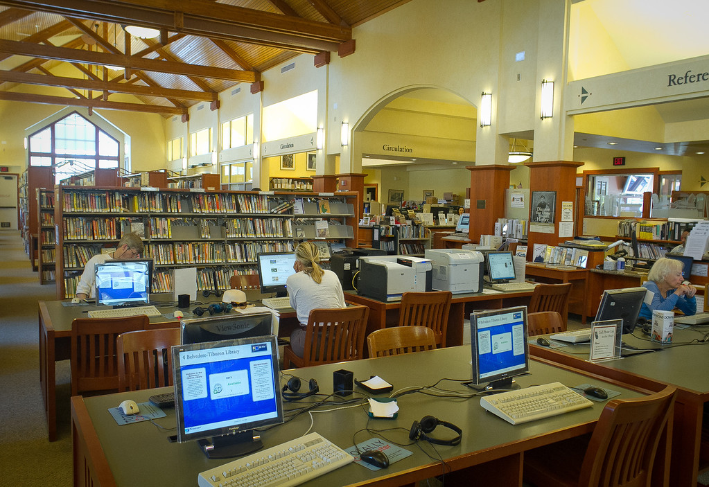The interior of the Tiburon Library is seen in Tiburon, Calif., on Thursday, June 28th, 2012.Residents in Tiburon upset that a $15 million, privately funded library addition will block views of historic St. Hilary Church.