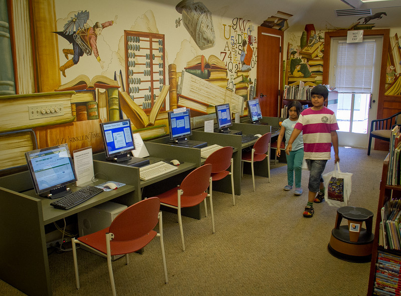 Computers are seen in the children area of the Tiburon Library. Residents in Tiburon upset that a $15 million, privately funded library addition will block views of historic St. Hilary Church in Tiburon, Calif., on Thursday, June 28th, 2012.