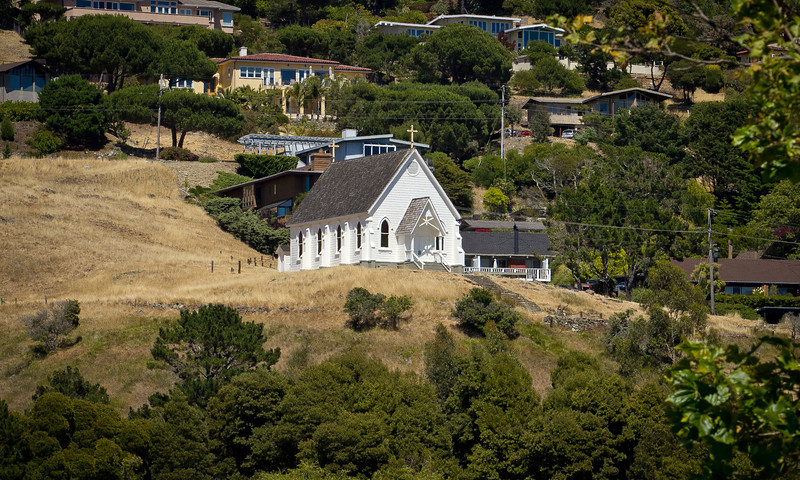St. Hillary's Church on the hill behind the Tiburon Library. Residents in Tiburon upset that a $15 million, privately funded library addition will block views of historic St. Hilary Church in Tiburon, Calif., on Thursday, June 28th, 2012.
