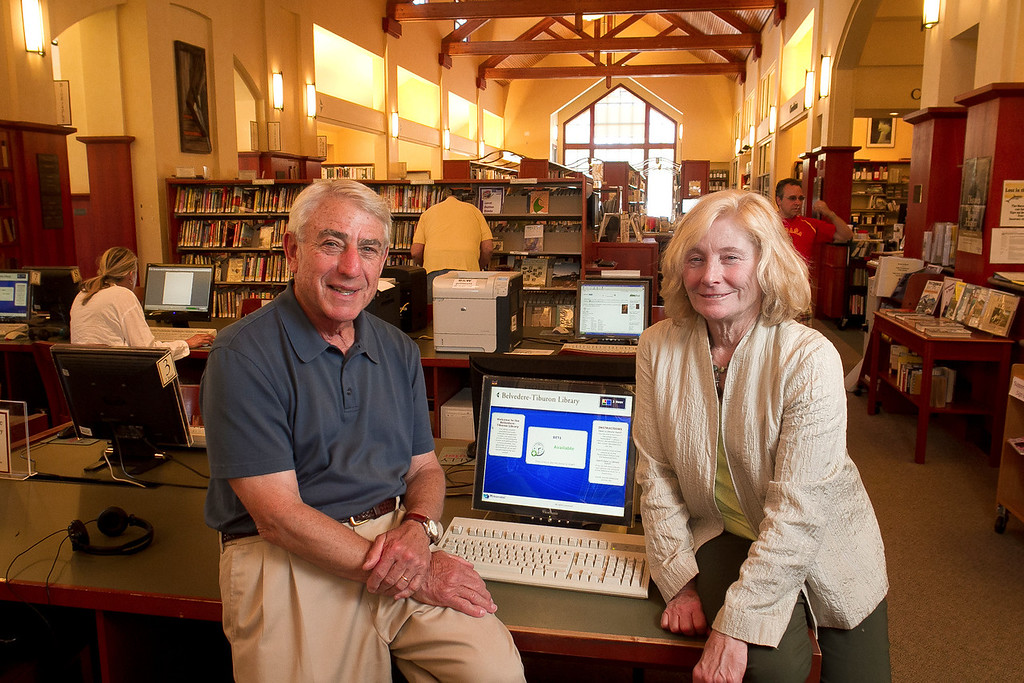 Tiburon Library Project Manager, Glen Isaacson with the Library Director  Deborah Mazzolini in the Tiburon Library. Residents in Tiburon upset that a $15 million, privately funded library addition will block views of historic St. Hilary Church in Tiburon, Calif., on Thursday, June 28th, 2012.