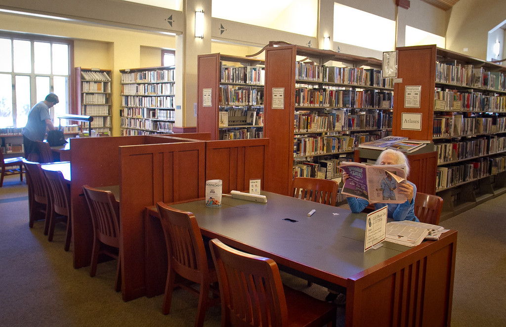 The interior of the Tiburon Library. Residents in Tiburon upset that a $15 million, privately funded library addition will block views of historic St. Hilary Church in Tiburon, Calif., on Thursday, June 28th, 2012.