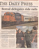 Timmins Daily Press 2006 October 5 - photos by Paul Lantz - Boreal delegates ride rails - Cochrane mayor Lawrence Martin - train that brought Boreal Conference delegates to Moosonee