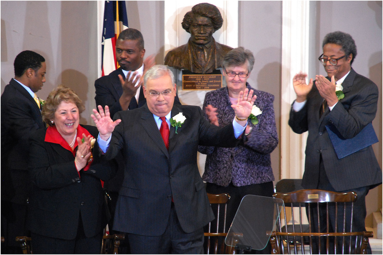 Greeting audience at Faneuil Hall in January 2010 after having been sworn in to his fifth term as mayor.
