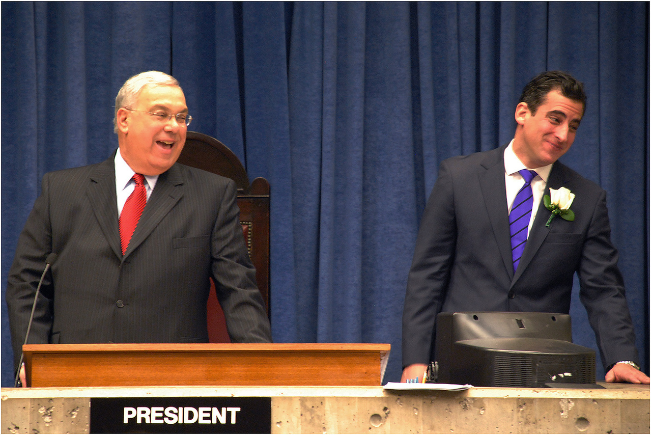 At the City council's first meeting of a new year, with Council President Mike Ross. January, 2010.