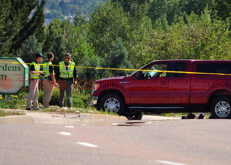 The pickup truck that was struck on its passenger side by a Colorado Springs Police Motorcycle Unit.<br /> >>><br /> If anyone has information about this case please call (719) 444-7000; or you may call Pikes Peak Area Crime Stoppers, Inc. at (719) 634-STOP (7867); you do not have to give your name and could earn a cash reward.