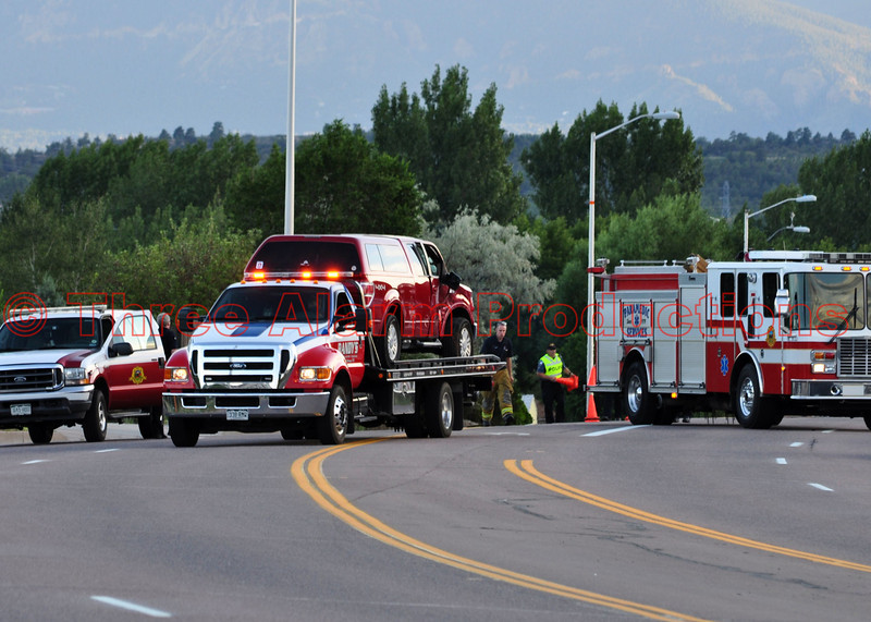 Colorado Springs Battalion Chief Unit and Colorado Springs Fire Engine 7 on the scene of a traffic accident involving a Police Officer.