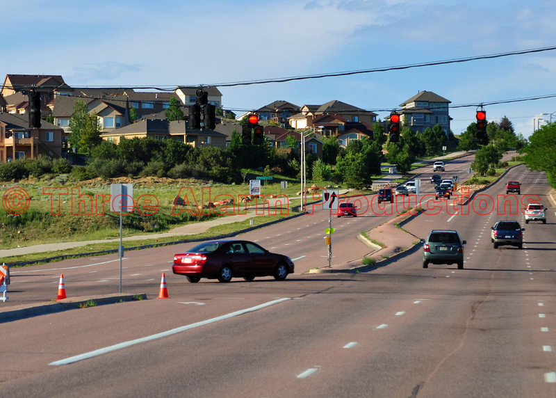 Traffic being diverted from Southbound Austin Bluffs Parkway to Old Farm Drive/Ruby Drive due to a serious traffic accident, involving a Police Officer, on the afternoon of July 24th, 2012.