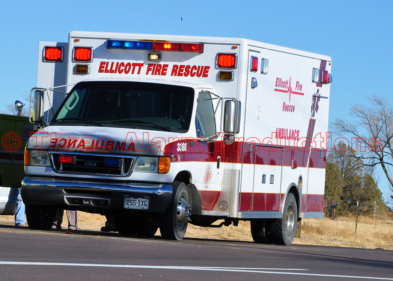 Ellicott Fire Rescue Unit 3388 on the scene of a major traffic accident on Highway 94.
