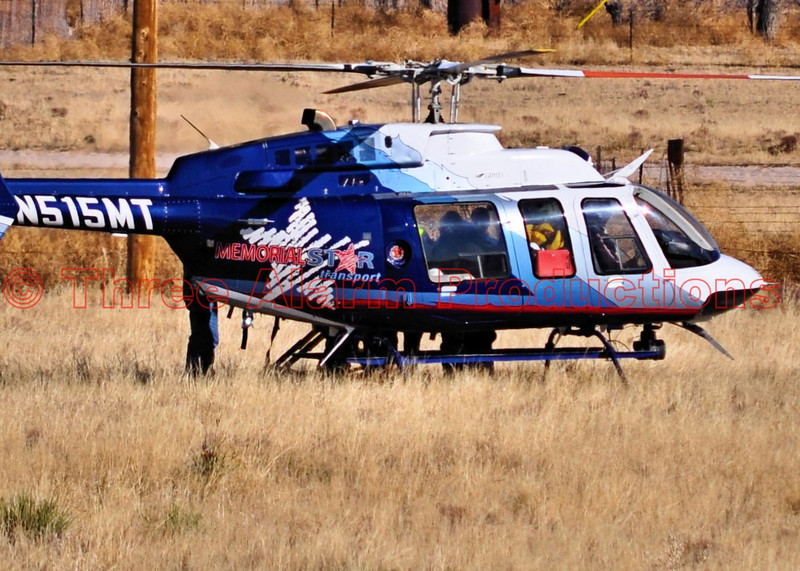 In beautiful Colorado...Memorial Star Air Transport preparing to take off with a patient that was just extricated from a serious traffic accident that happened on CO Highway 94 in El Paso County.