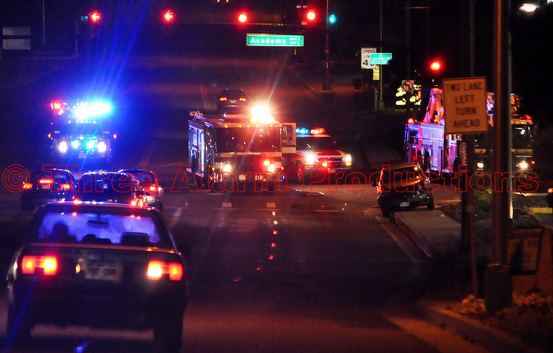 "A traffic accident occurred approximately 9:50PM on August 6, 2012 at the intersection of South Academy Boulevard and Airport Road in Colorado Springs, Colorado. Three vehicles were involved in the accident and Northbound Academy was closed for over an hour. Some of the Colorado Springs Fire Department emergency vehicles on scene were Ladder Truck 8, Fire Engine 8, Squad 108, D-2 Battalion Chief, and 3 American Medical Response Ambulances. There were multiple patients in this traffic accident that were taken to the hospital. Many Colorado Springs Police Officers were on scene for traffic control and accident investigation. A small crowd started to form at the Burger King Restaurant, to watch firefighters and paramedics prepare patients for transport to the hospital.<br /> See location on Google Maps at: <a href=""http://goo.gl/maps/aMZ8M"">http://goo.gl/maps/aMZ8M</a>"