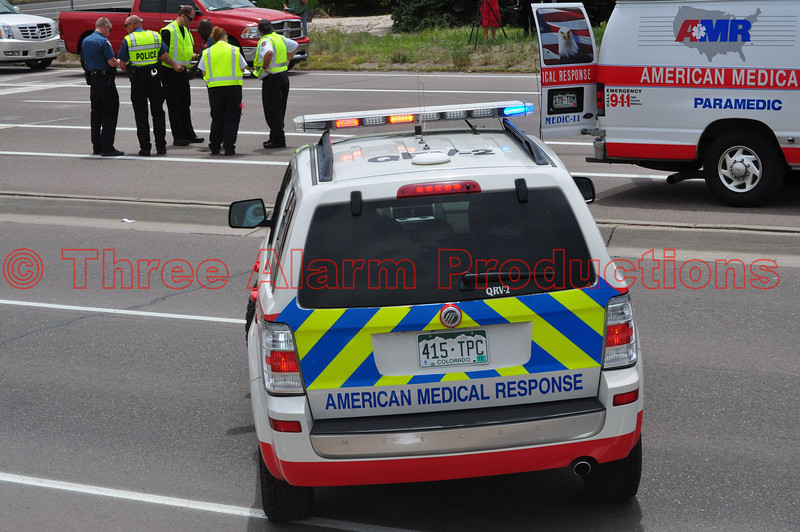 American Medical Response QRV-2 on the scene of a traffic accident in Colorado Springs, Colorado.