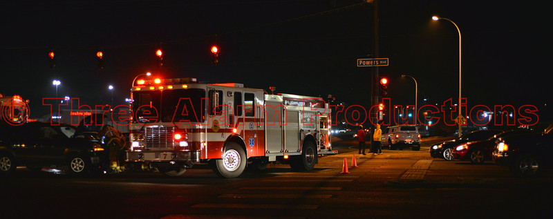 Colorado Springs Fire Engine 7 responds dual, with Cimarron Hills Fire Engine 1310 on a traffic accident, at Powers and Palmer Park. December 23, 2013