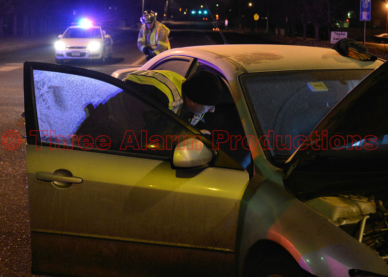 A Colorado State Trooper investigates a traffic collision at Palmer Park Boulevard and Peterson Road.