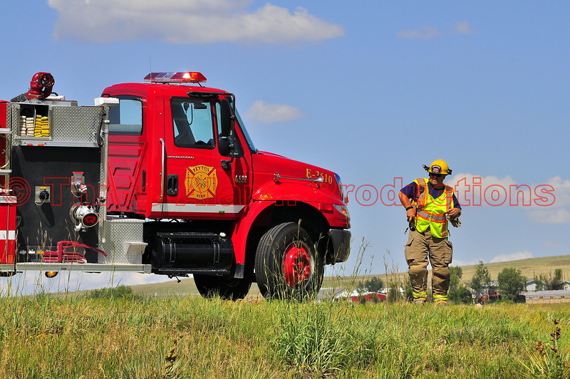 Peyton Fire Engine 3610 on the scene of a roll-over accident on U.S. Highway 24 in El Paso County, Colorado.