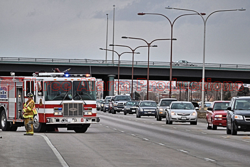 Colorado Springs Fire Engine 8 on Southbound Powers Boulevard for a traffic accident involving a rolled over pick-up truck.