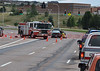 Colorado Springs Fire Engine 20 on the scene of a traffic accident.