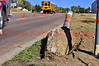 A post dislodged from the ground after being struck by a pickup truck in Cimarron Hills, Colorado. 10/23/2013