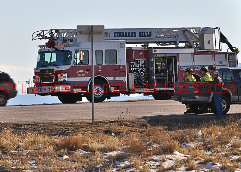 CHFD Ladder Truck 1331 on the scene of a minor traffic collision on Platte Avenue.