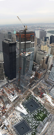 The Footpint of the original World Trade Center, from the top of the New Freedom Tower (wtc1) New York, new York.