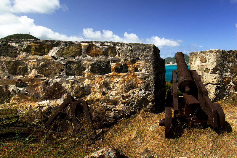 Canon in Fort Amsterdam, overlooking Great Bay, SXM