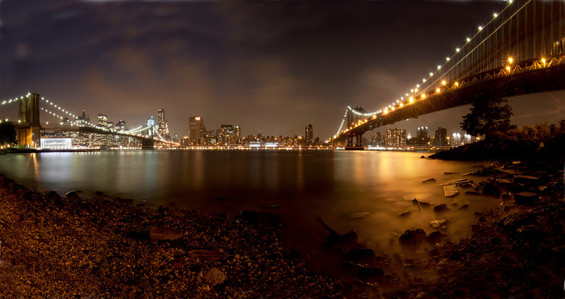 Brooklyn Bridge overlooking Manhattan