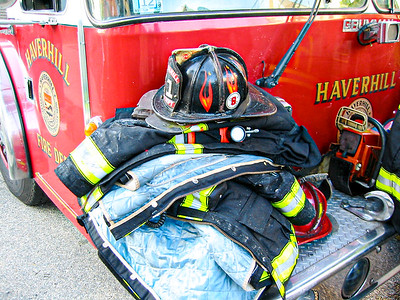 Equipment is set aside after a two-alarm blaze at 11 Union St. in Haverhill, MA.