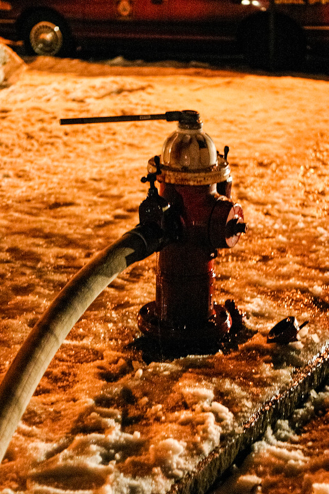 Fire hydrant serving the two-alarm blaze at 27 5th Ave. in Haverhill, MA.