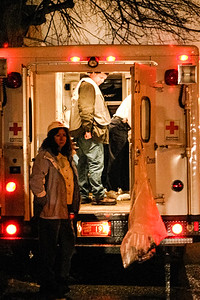 Red Cross volunteers hand out supplies at a two-alarm blaze at 27 5th Ave. in Haverhill, MA.