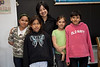 Moosonee Cree Opera Pimooteewin: Bishop Belleau Separate School: Workshop with soprano Xin Wang and senior kindergarten through grade 3 students. Bishop Belleau Separate School students (left to right) Faith Sutherland, Trisha Hookimaw, Myopin Cheechoo, Margaret Wheesk.
