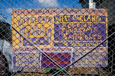 Sign at the fence of the Center Street Farm in West Oakland.