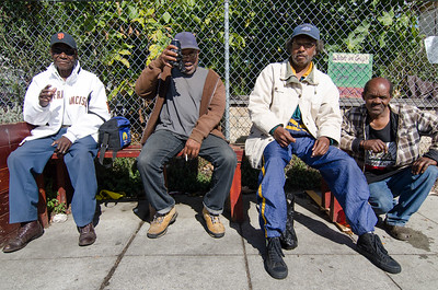 A group of neighbors in front of the Center Street Farm in West Oakland.