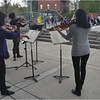 "Performing ""Amazing Grace"" and Beethoven for the walk: a volunteer string quartet (fdrom left to right: Javier Caballero, Lisa Wong, Ashleigh Gordon and Emily Hsieh)."
