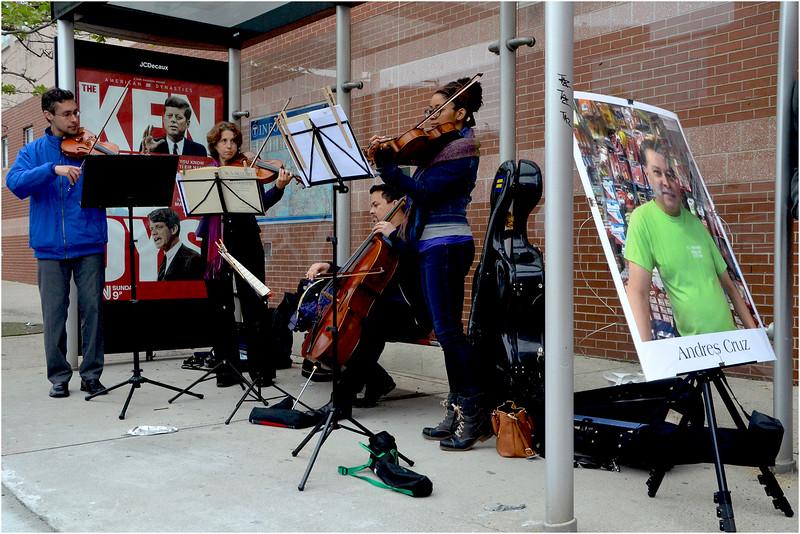 Musical Memorial ensemble near Madison Park Technical Vocational High School on Malcolm X Boulevard (left to right): Joshua Addison, Rebecca Strauss, Javier Caballero and Ashleigh Gordon.