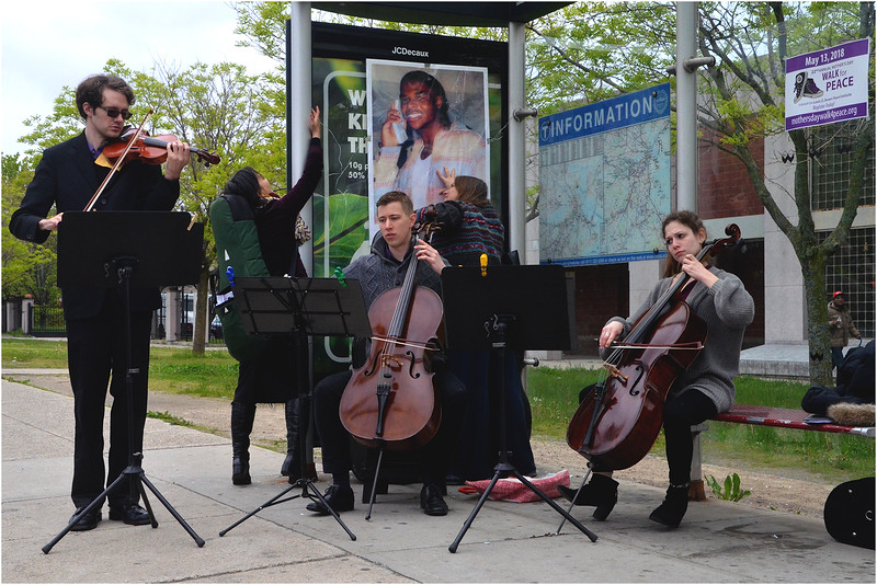 As part of the Musical Memorial Project, musicians donated playing time along the walk route. Shown above are members of Palaver Strings (left to right): Ryan Shannon, Matthew Smith and Jennie Brent. The performances were part of Shaw Pong Liu's  City of Boston Artist-in-Residence project, Code Listen, a collaboration with city agencies and the Louis D. Brown Peace Institute.