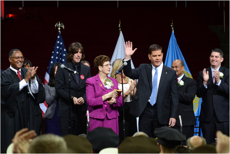 Marty Walsh acknowledges the crowd at Conte Forum after taking the oath of office as the new mayor of Boston.